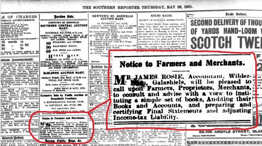 James Rosie Advert Southern Reporter May 1921